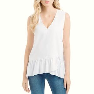 Lysse Drawstring Ruffle Hem Top White Size XL